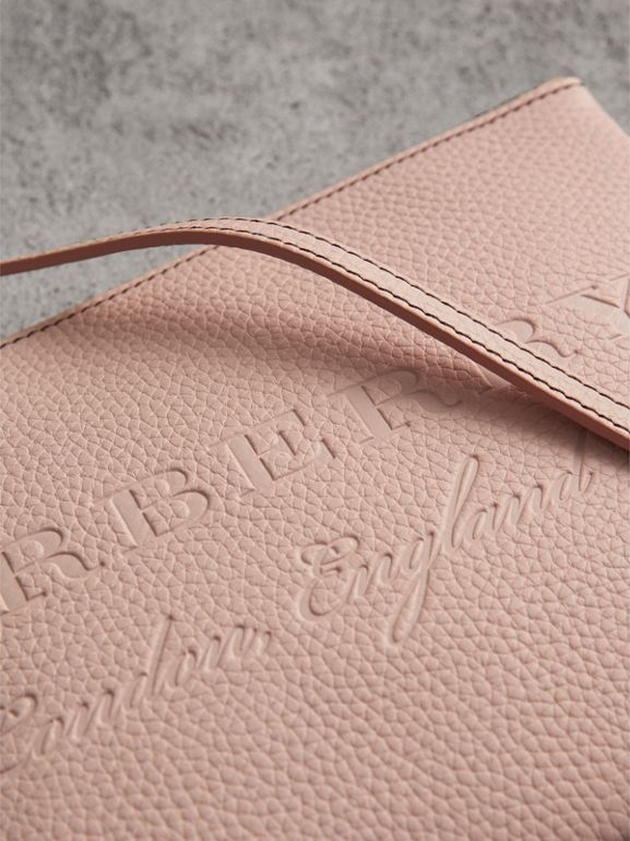 Embossed Leather Clutch Bag in Pale Ash Rose - Women | Burberry United Kingdom - cell image 1