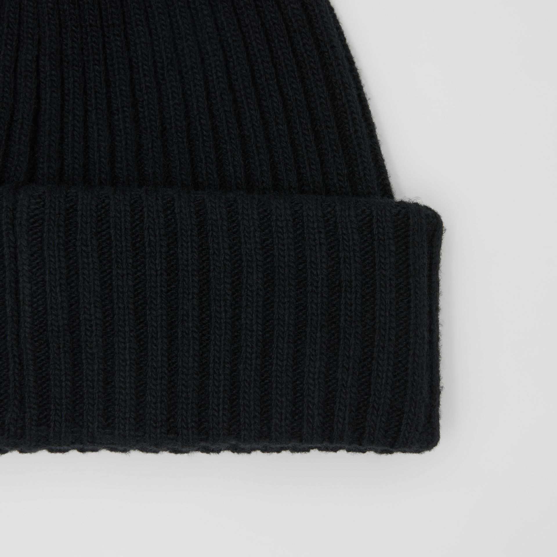 Rib Knit Wool Beanie in Black | Burberry - gallery image 1