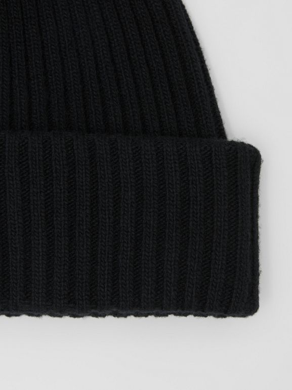 Rib Knit Wool Beanie in Black | Burberry - cell image 1