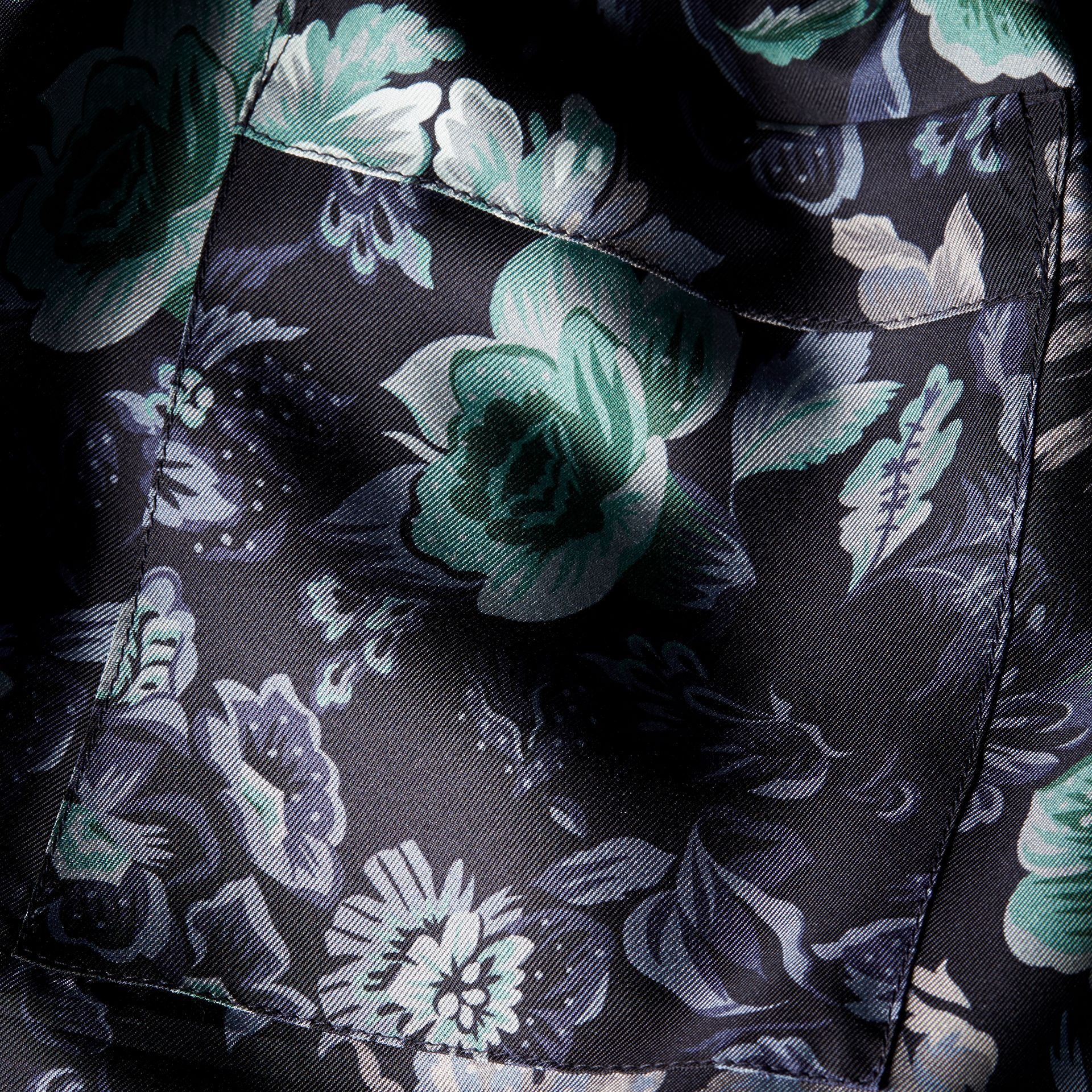 Navy Floral Print Silk Twill Pyjama-style Trousers - gallery image 2