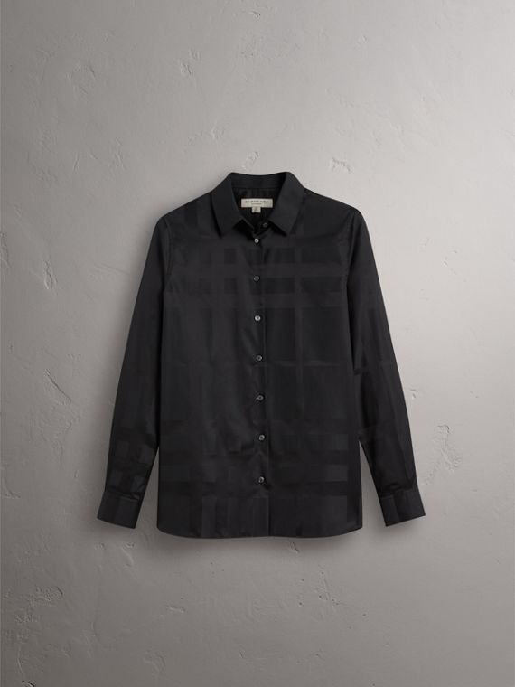 Check Jacquard Cotton Shirt in Black - Women | Burberry - cell image 3