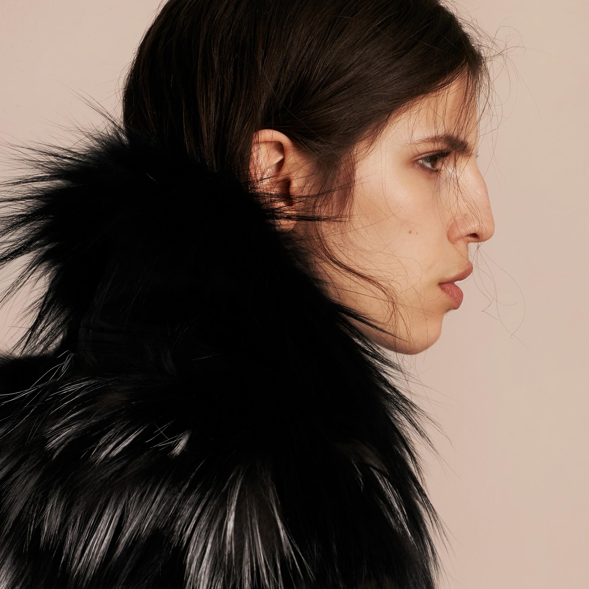 Black/white Chevron Stripe Fox Fur Jacket - gallery image 5
