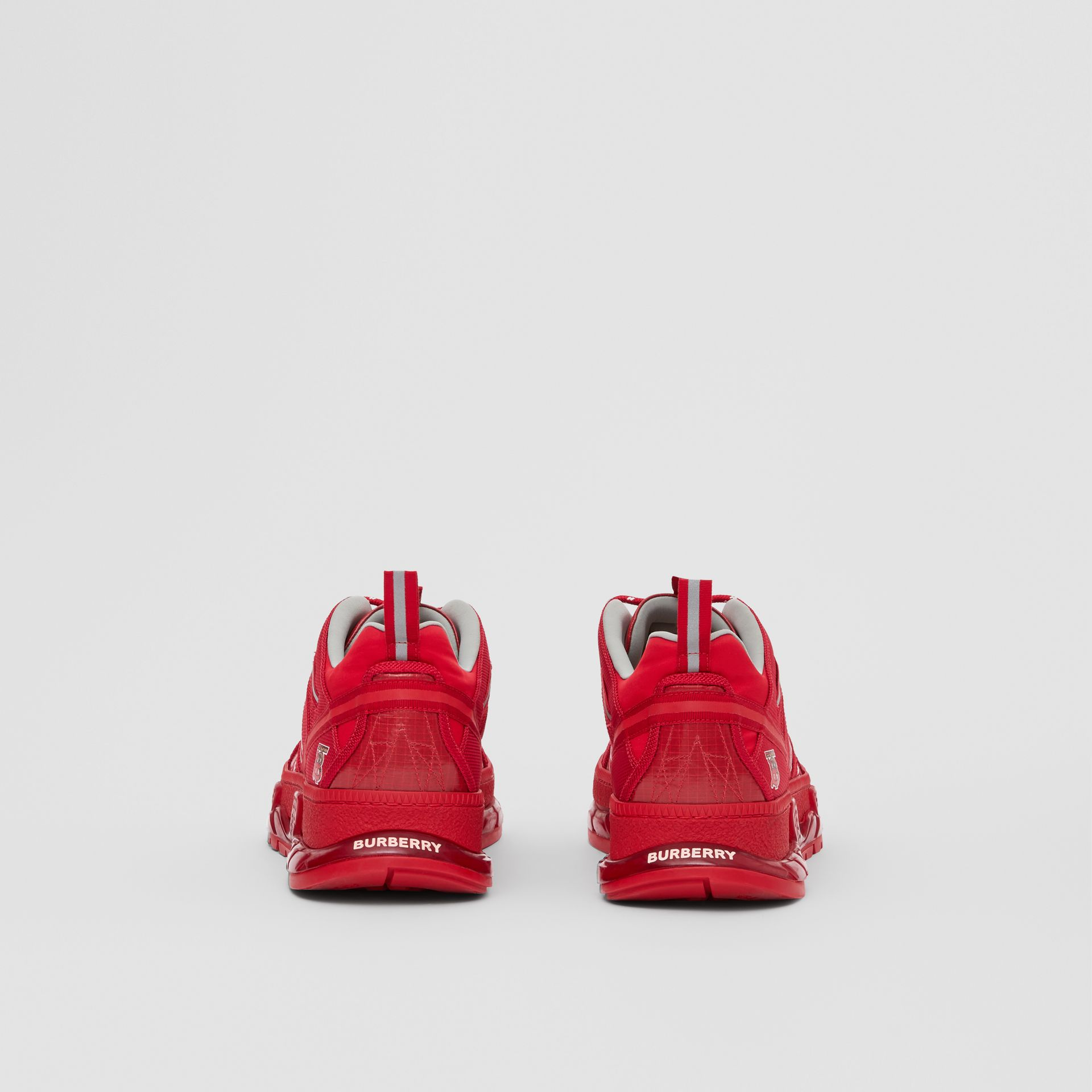 Nylon and Leather Union Sneakers in Bright Red - Men | Burberry United Kingdom - gallery image 3
