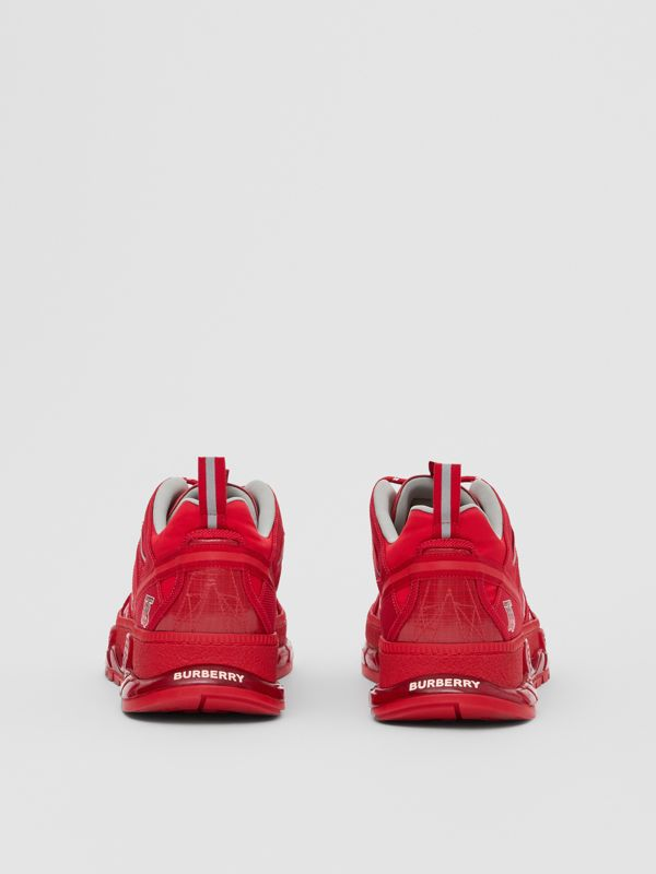 Nylon and Leather Union Sneakers in Bright Red - Men | Burberry United Kingdom - cell image 3