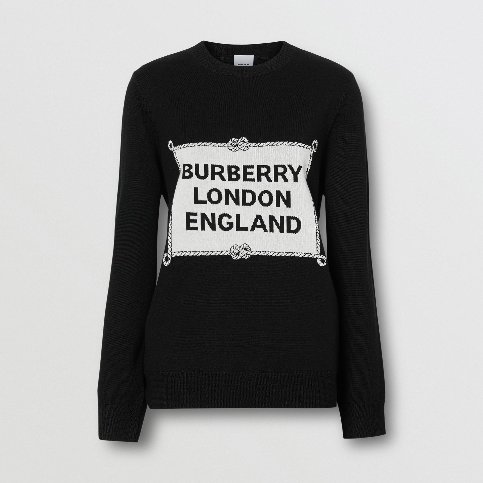 Rigging Intarsia Merino Wool Sweater in Black - Women | Burberry - gallery image 3