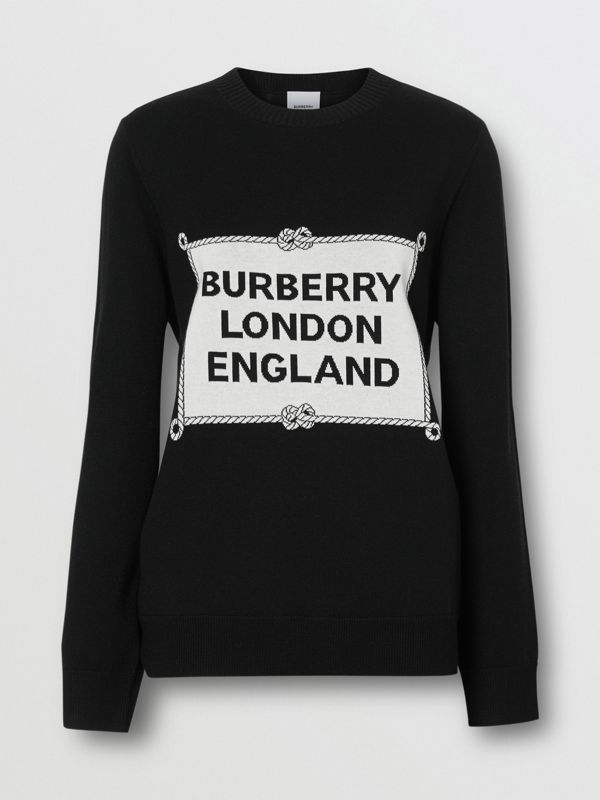 Rigging Intarsia Merino Wool Sweater in Black - Women | Burberry - cell image 3