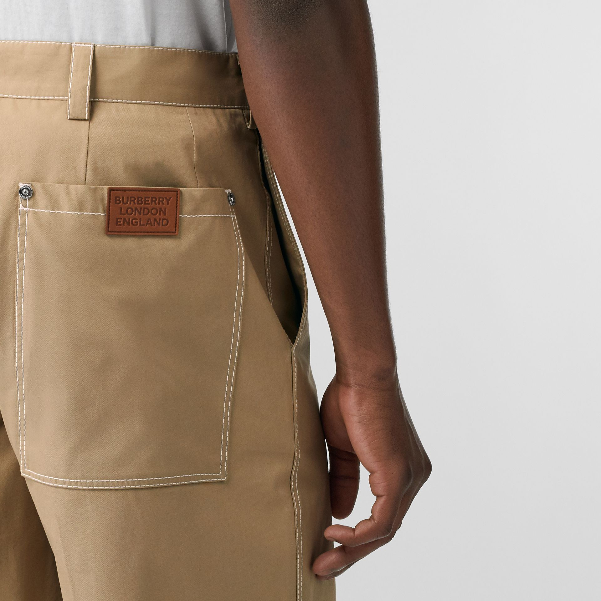 Pocket Detail Cotton Tailored Shorts in Dark Honey - Men | Burberry United Kingdom - gallery image 1