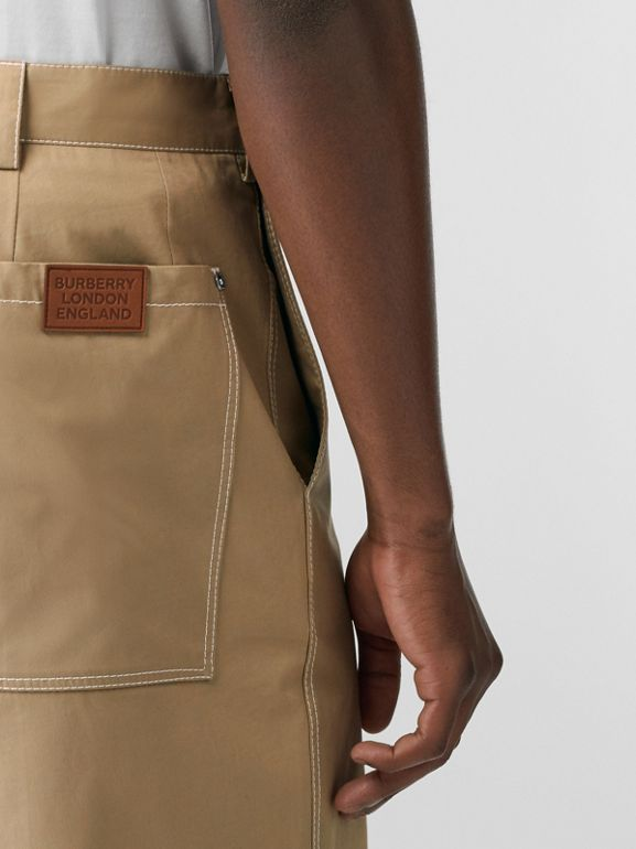 Pocket Detail Cotton Tailored Shorts in Dark Honey - Men | Burberry - cell image 1