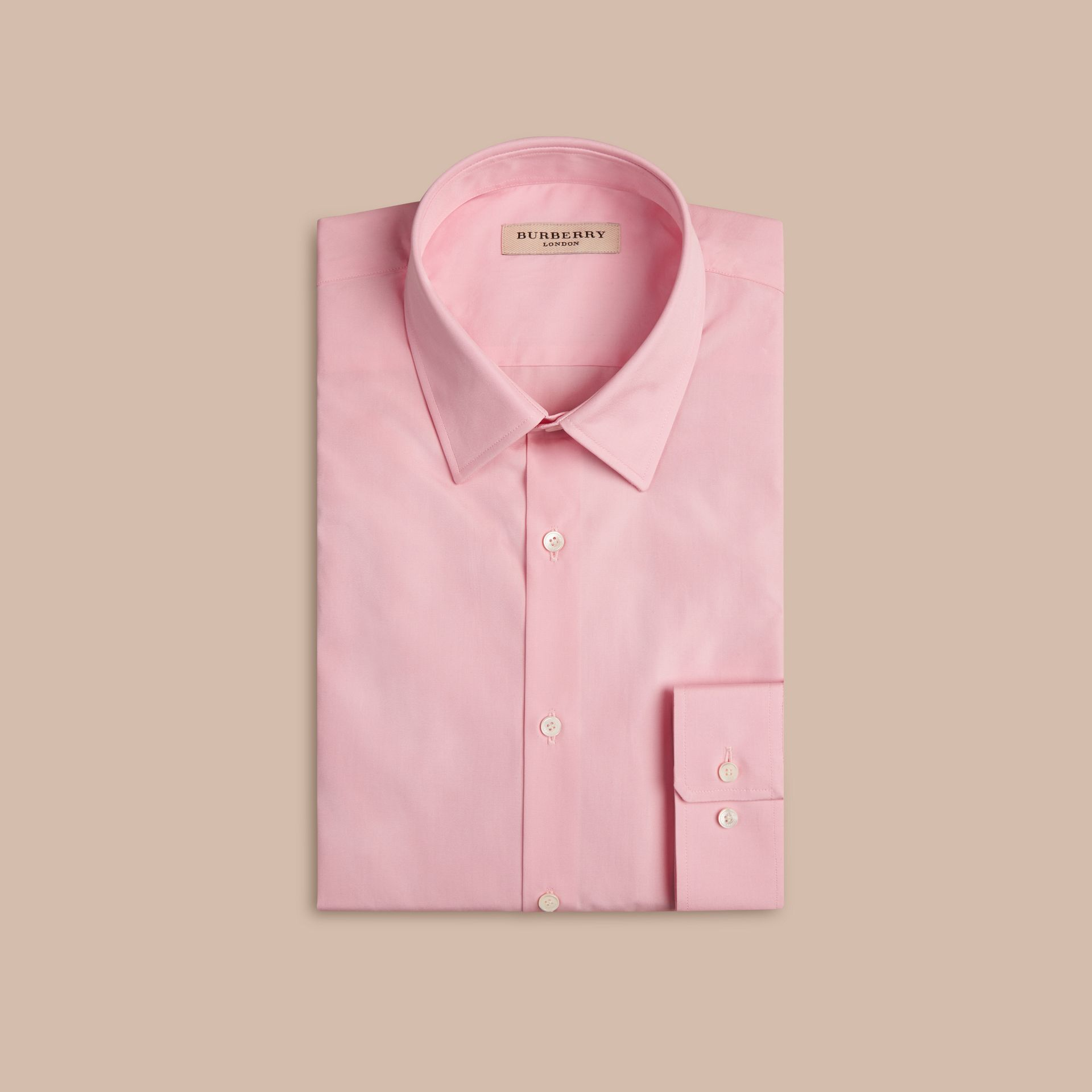 Modern Fit Cotton Poplin Shirt in City Pink - Men | Burberry - gallery image 4