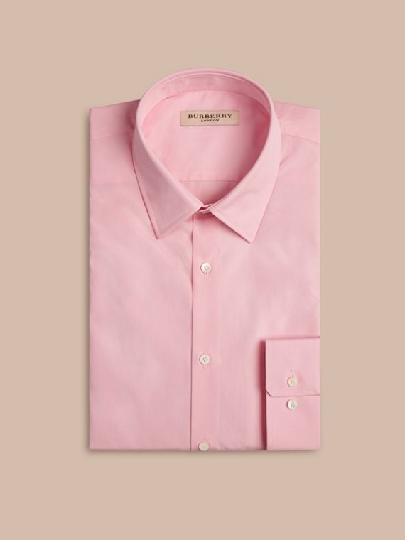 Modern Fit Cotton Poplin Shirt in City Pink - cell image 3