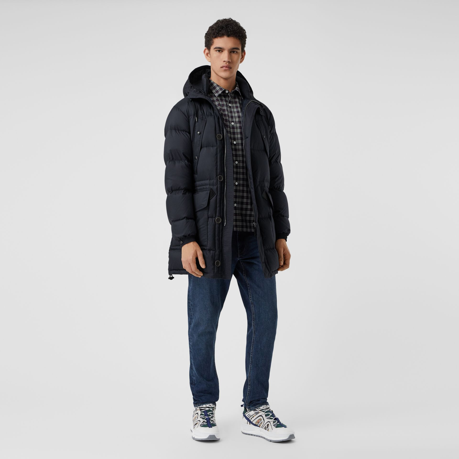 Hooded Puffer Coat in Navy - Men | Burberry - gallery image 0