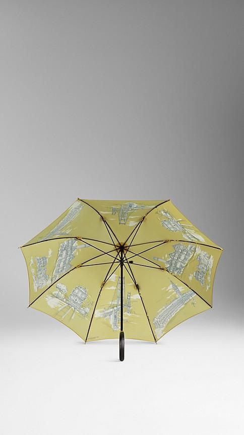 Cornflower yellow pr San Francisco Landmarks Walking Umbrella - Image 2
