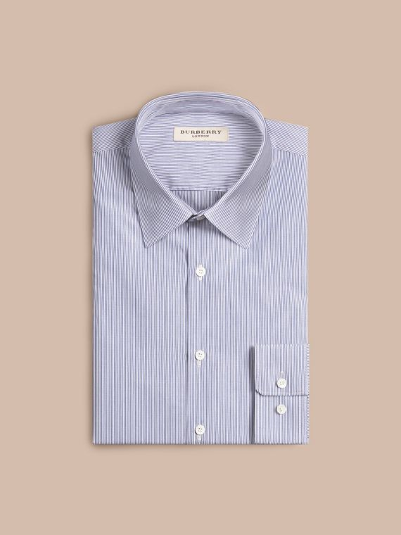 Slim Fit Striped Cotton Poplin Shirt in Dark Empire Blue - cell image 3