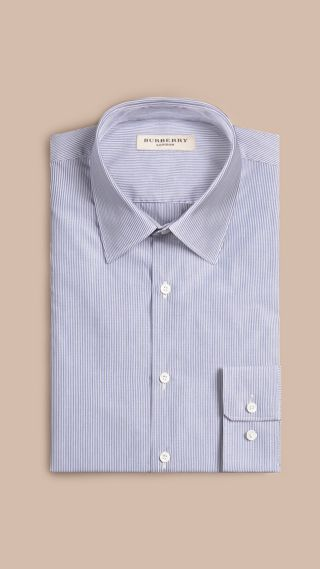 Slim Fit Striped Cotton Poplin Shirt