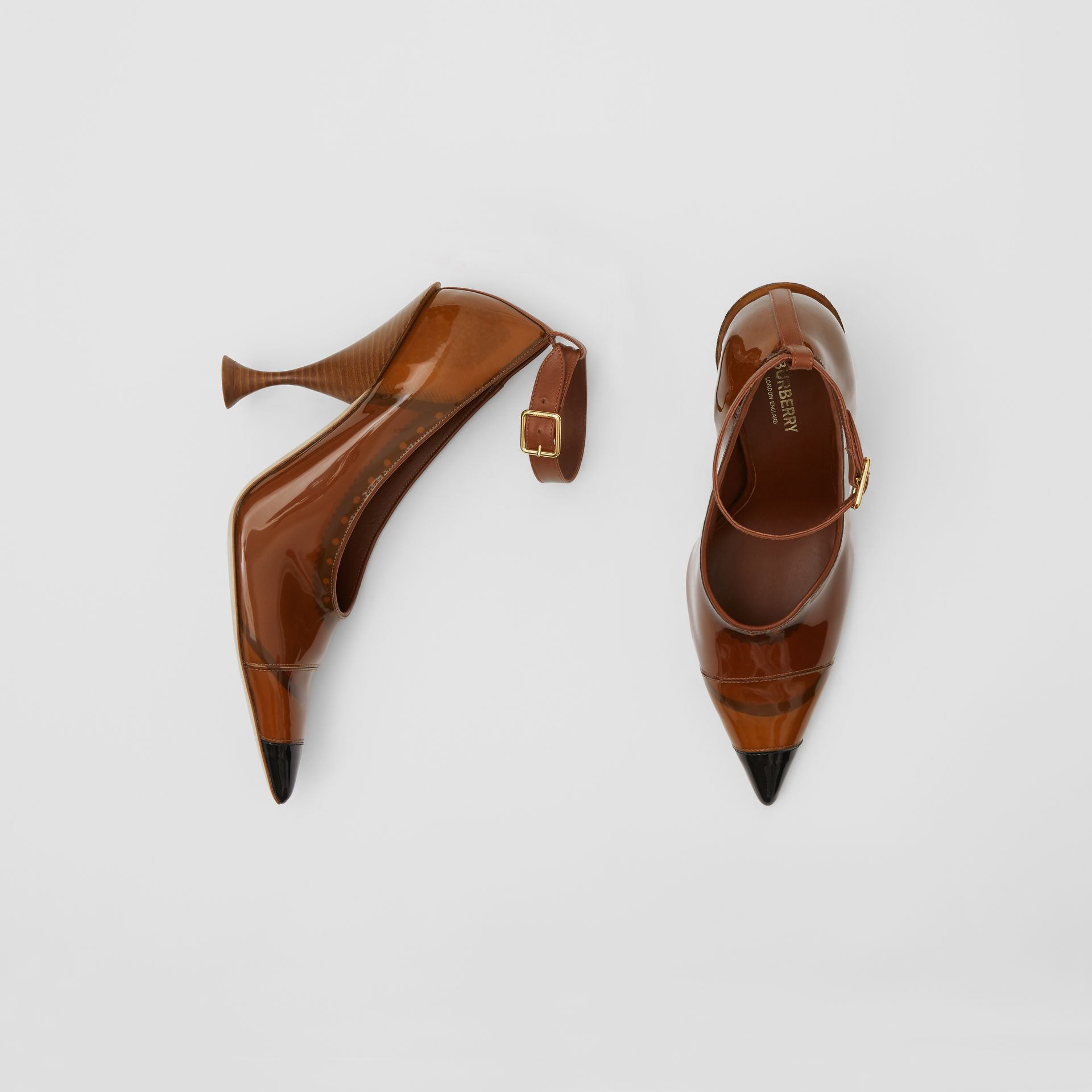 Vinyl and Leather Point-toe Pumps in Malt Brown - Women | Burberry - gallery image 0