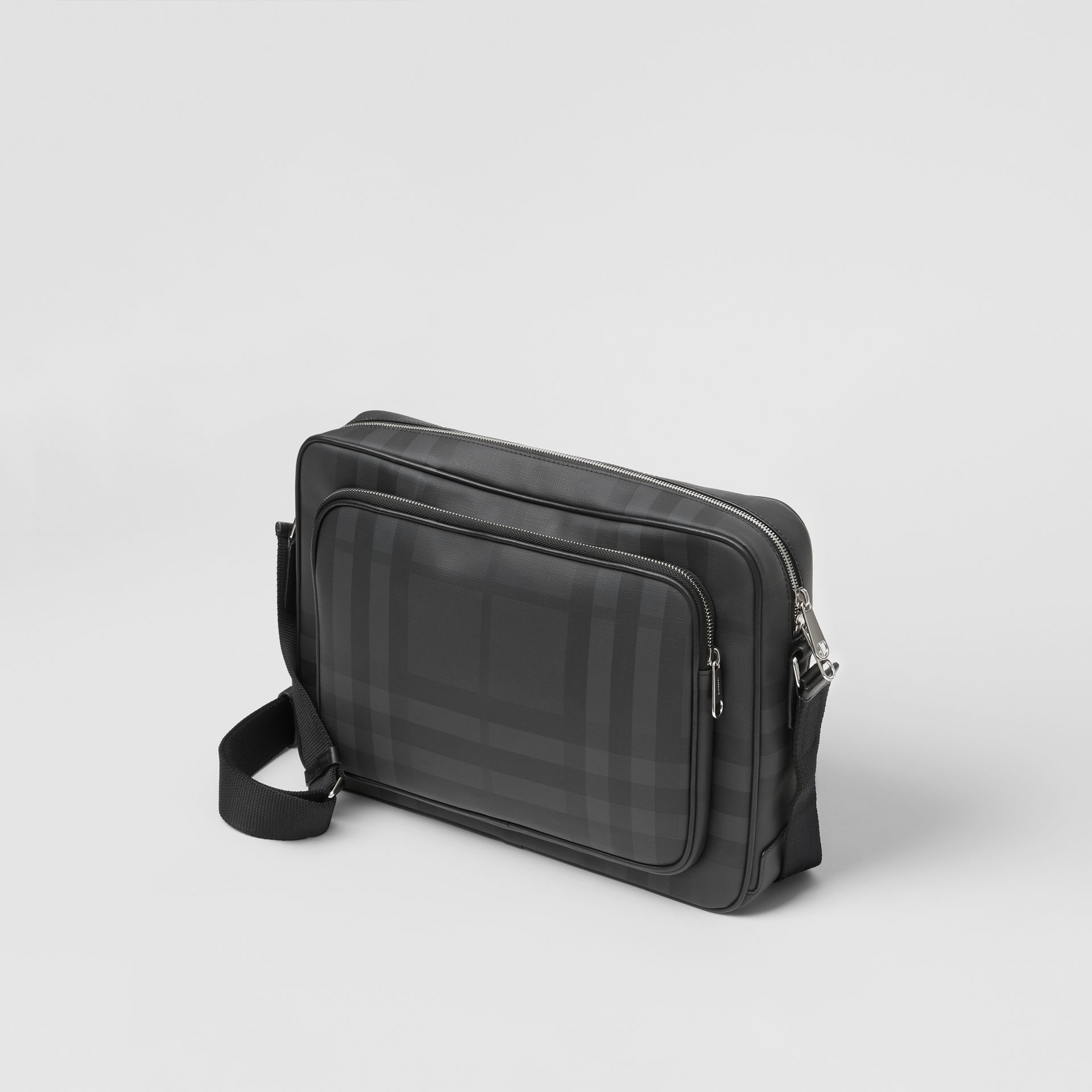 London Check and Leather Messenger Bag in Dark Charcoal - Men | Burberry Singapore - gallery image 3