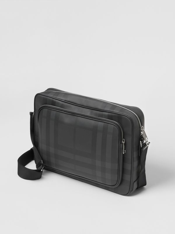 London Check and Leather Messenger Bag in Dark Charcoal - Men | Burberry United Kingdom - cell image 3