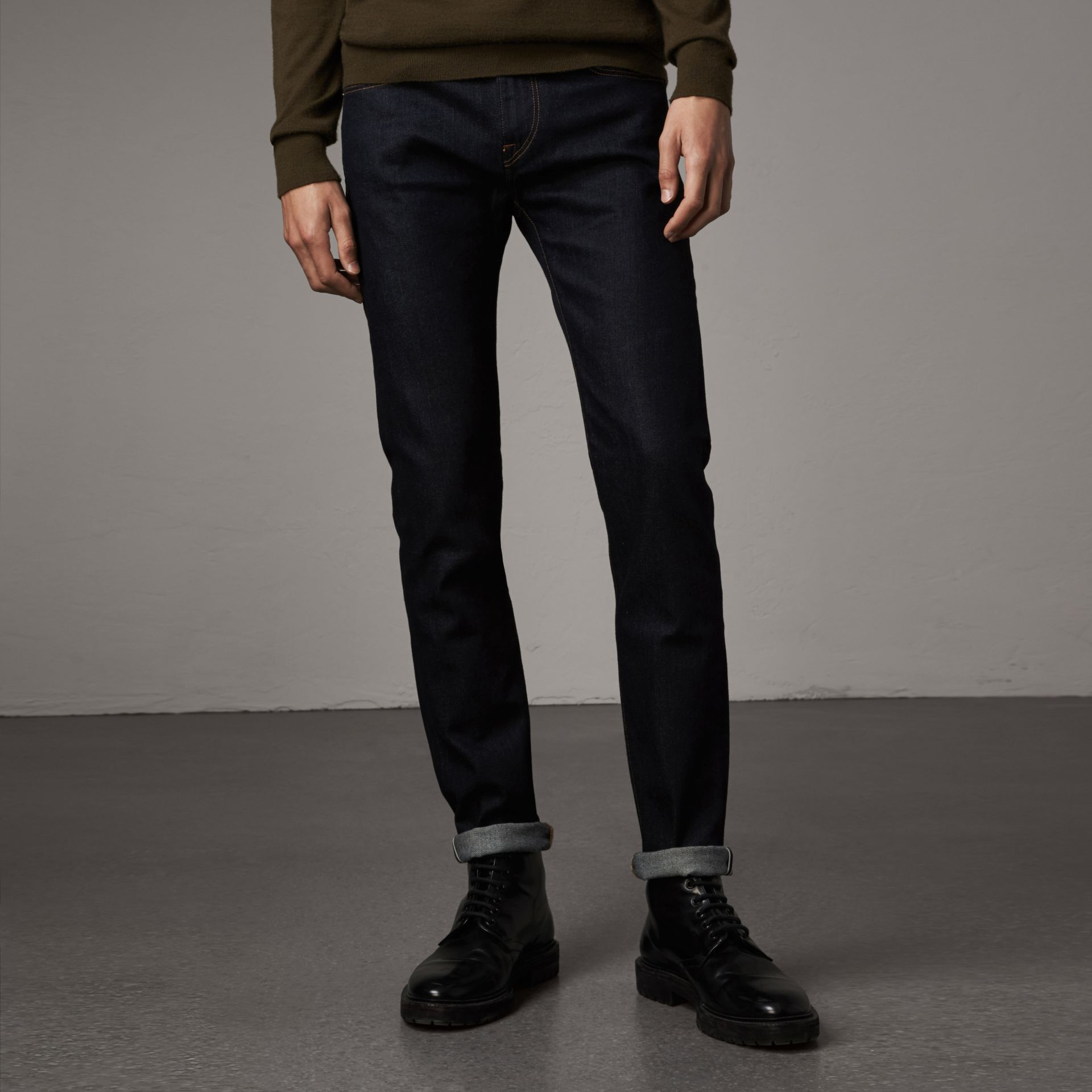Slim Fit Stretch Japanese Selvedge Denim Jeans in Dark Indigo - Men | Burberry - gallery image 0