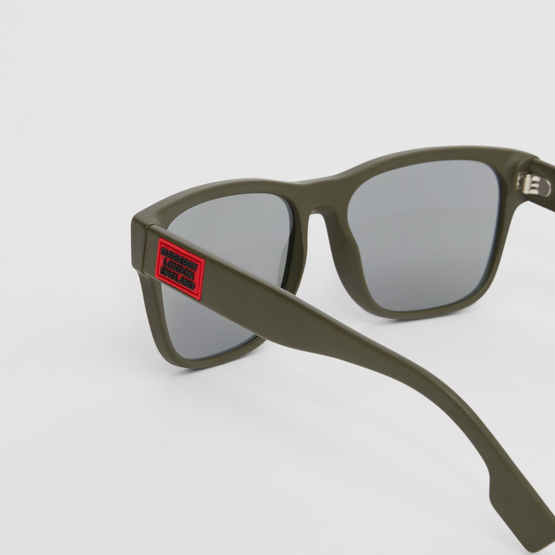 Logo Appliqué Square Frame Sunglasses in Military Green - Men | Burberry Australia - gallery image 1