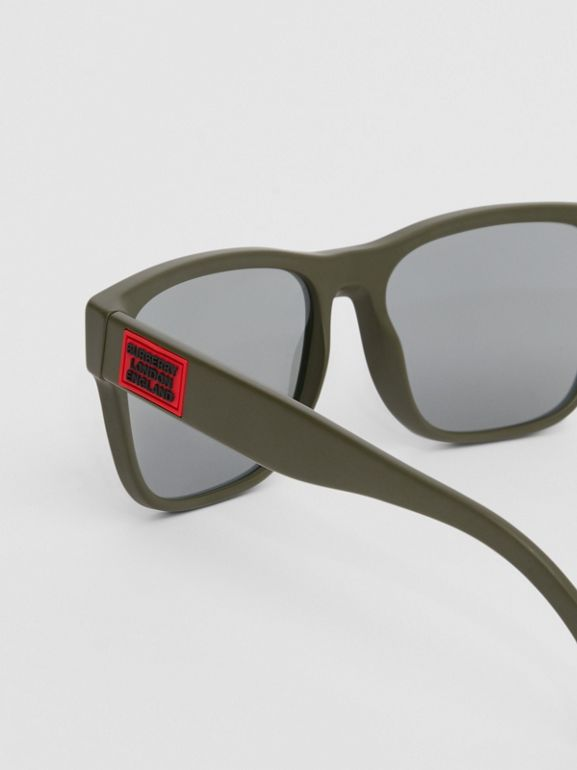 Logo Appliqué Square Frame Sunglasses in Military Green - Men | Burberry Australia - cell image 1