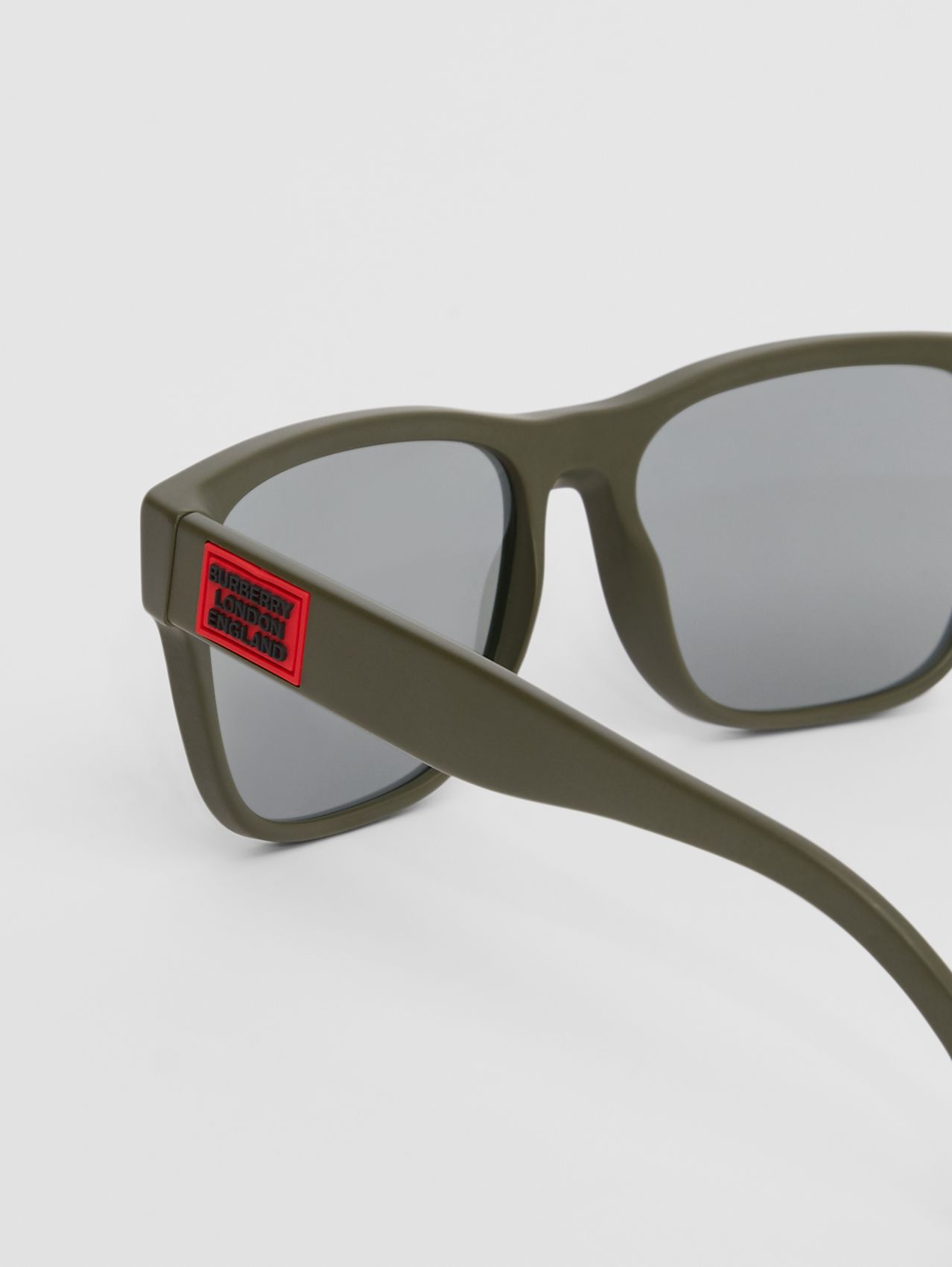 Logo Appliqué Square Frame Sunglasses in Military Green