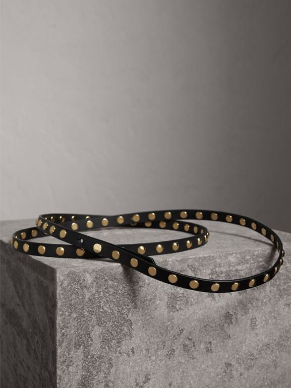 Studded Bridle Leather Double-wrap Belt in Black - Women | Burberry - cell image 1