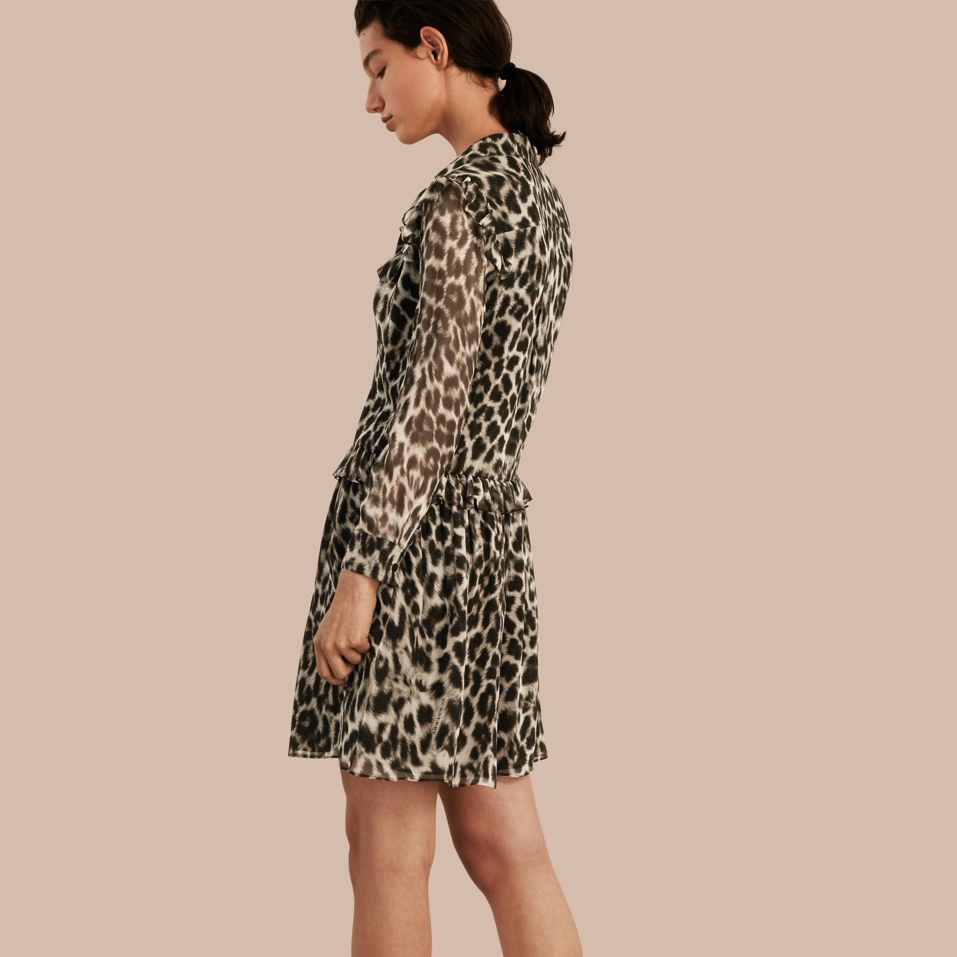 Ruffle Detail Animal Print Silk Dress - gallery image 3