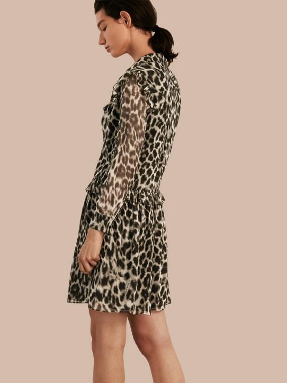 Ruffle Detail Animal Print Silk Dress - cell image 2
