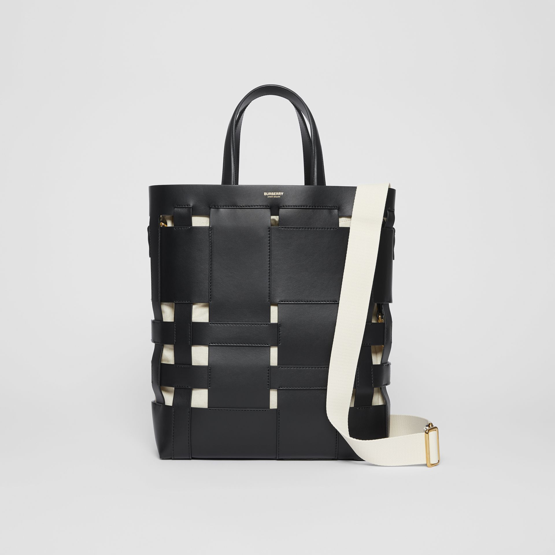 Medium Leather Foster Tote in Black - Women | Burberry - gallery image 0