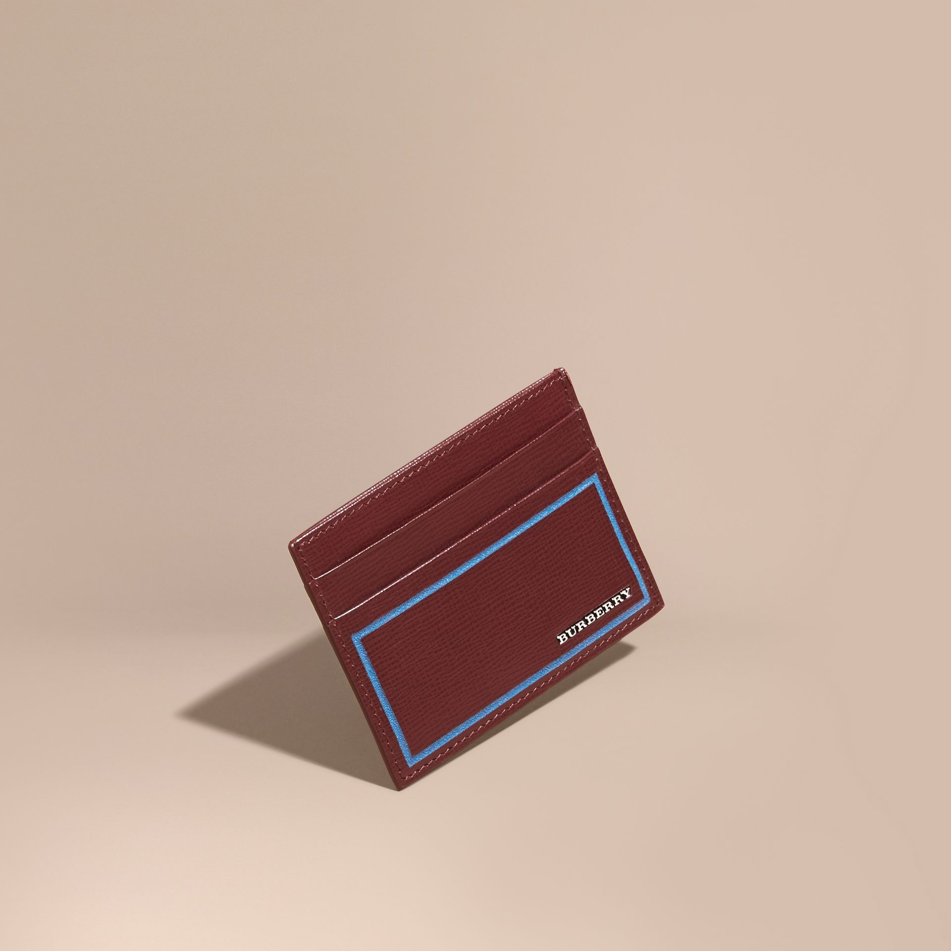Border Detail London Leather Card Case in Burgundy Red - gallery image 1