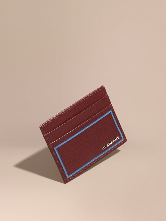 Border Detail London Leather Card Case Burgundy Red