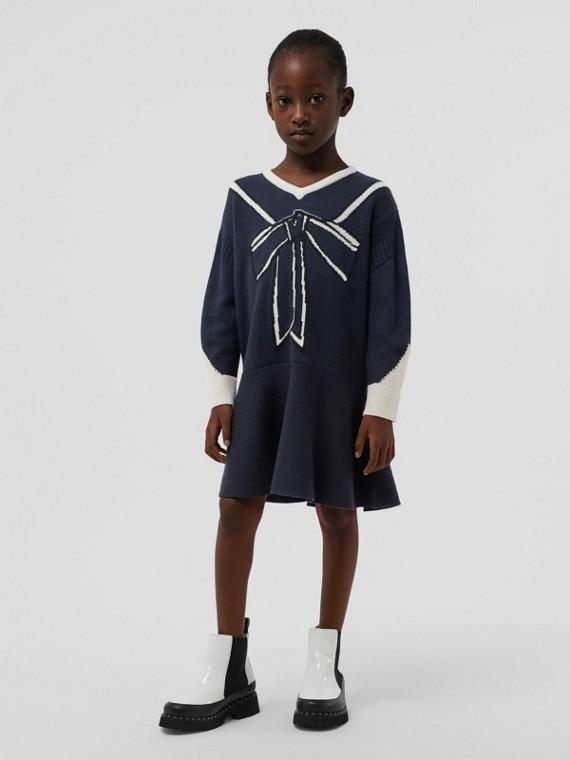 Vestitino in lana e cashmere con lavorazione a intarsio effetto trompe l'oeil (Navy)