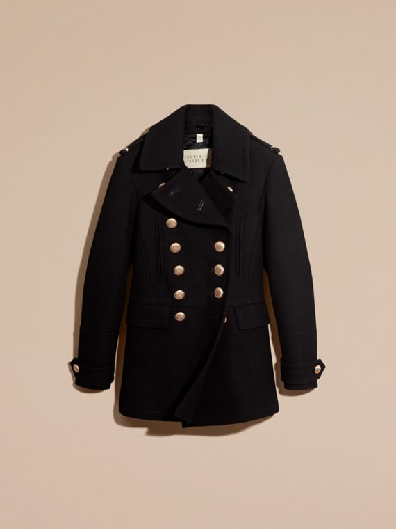 Black Wool Blend Military Pea Coat - cell image 3