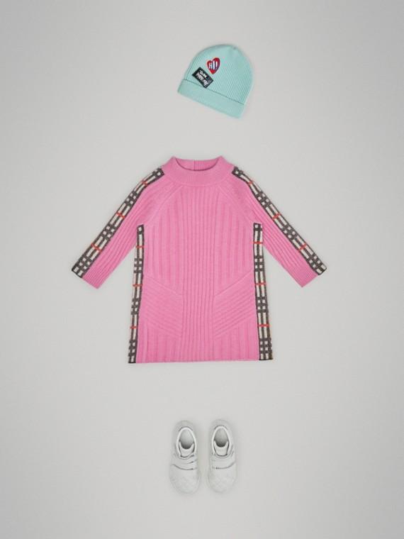 格紋細節設計羊毛喀什米爾洋裝 (玫瑰粉紅)