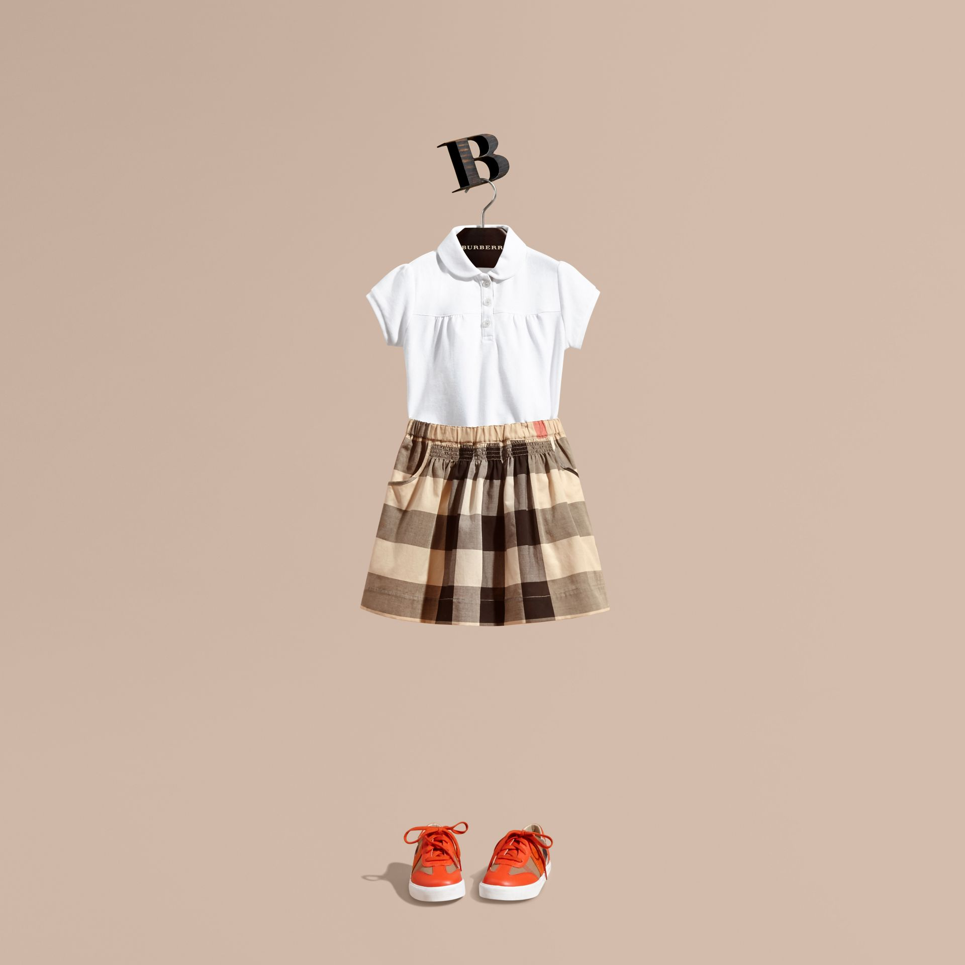 Check Cotton Ruched Skirt in New Classic - Girl | Burberry - gallery image 1