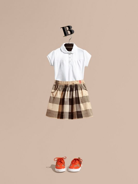 Gonna in cotone con motivo tartan e arricciature - Bambina | Burberry