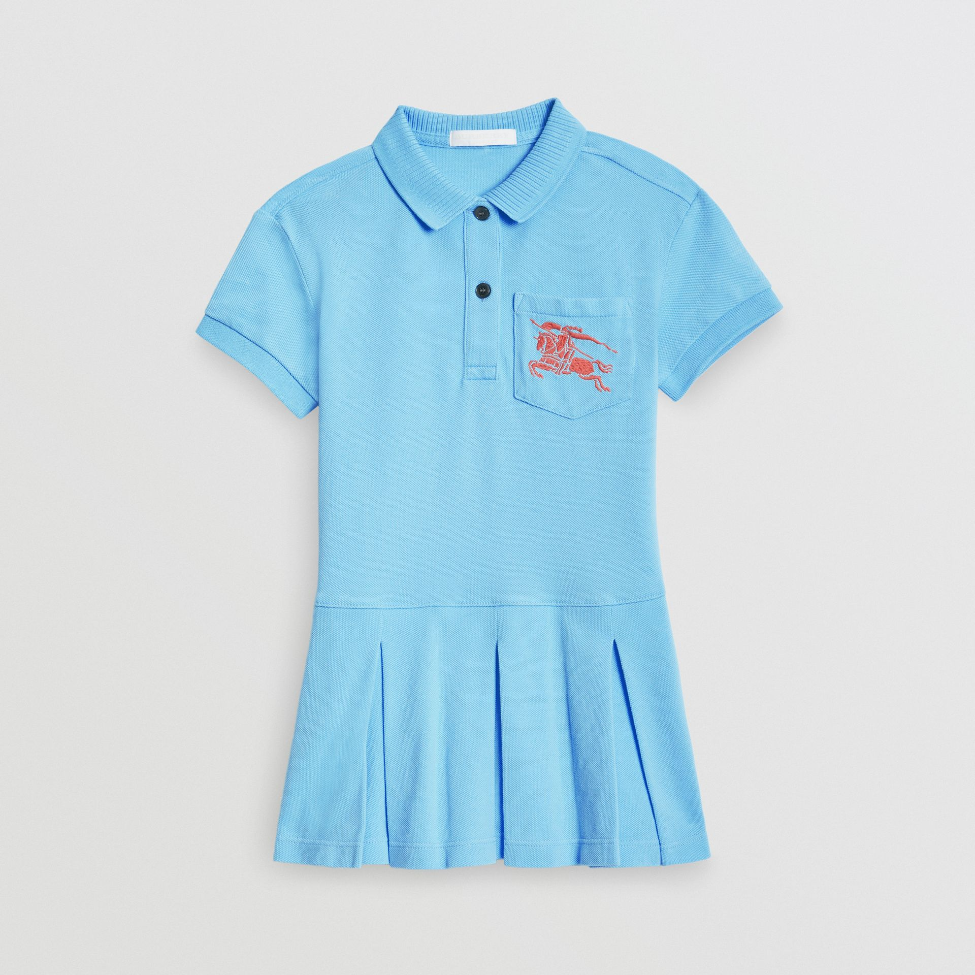 EKD Logo Cotton Polo Dress in Hydrangea Blue - Girl | Burberry - gallery image 0