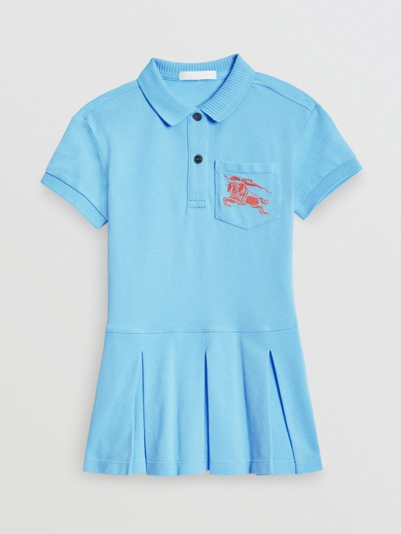 EKD Logo Cotton Polo Dress in Hydrangea Blue