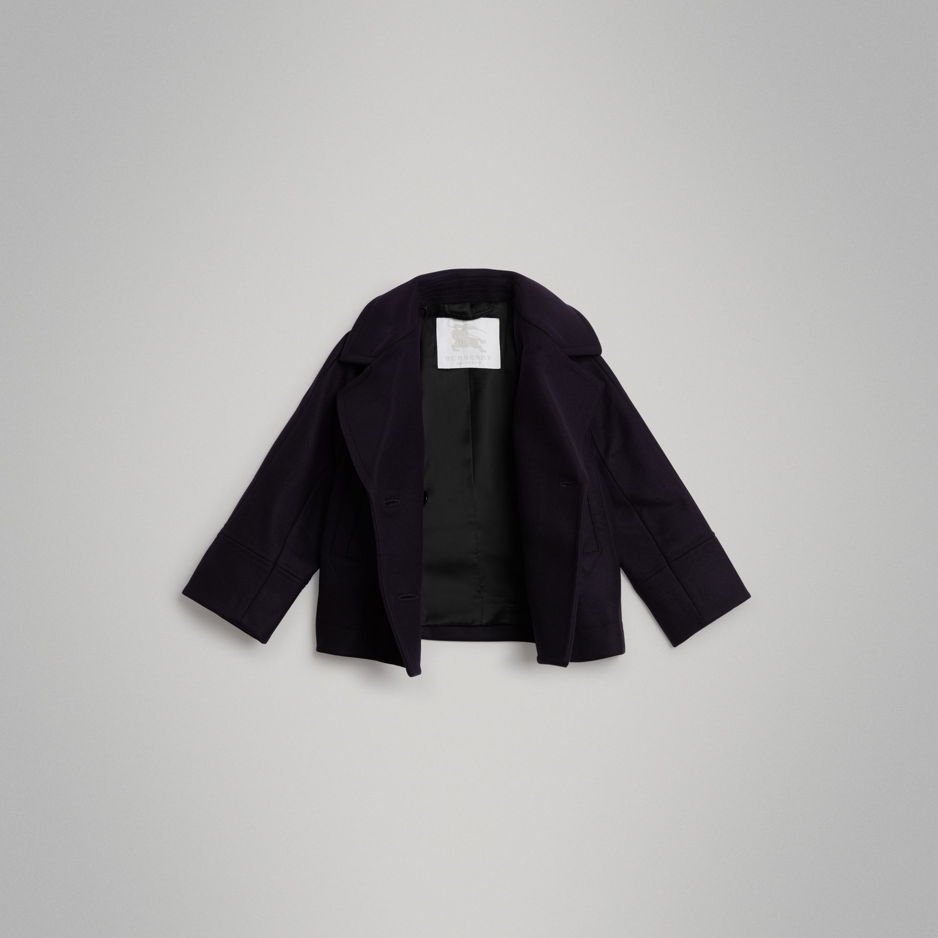 Short Wool Pea Coat in Navy | Burberry - gallery image 3