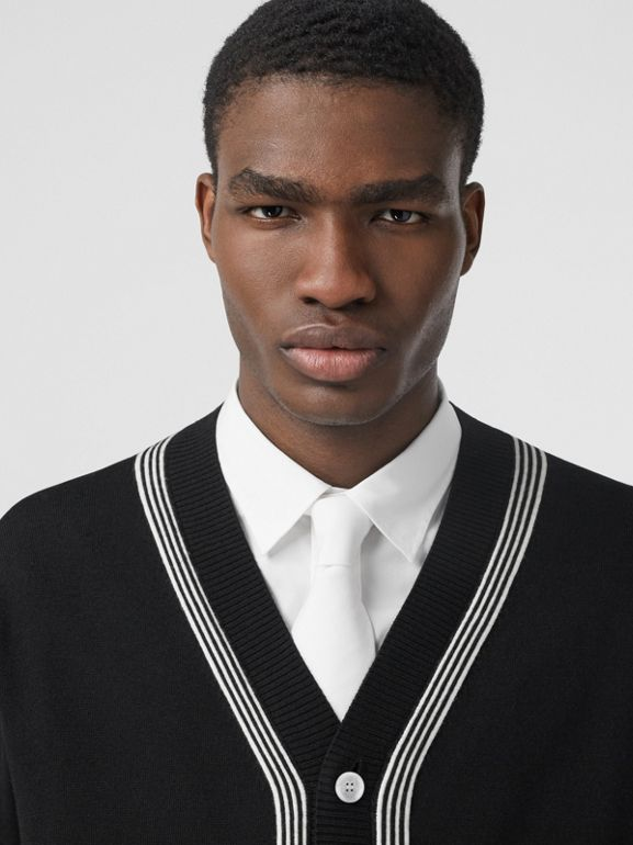 Stripe Detail Merino Wool Oversized Cardigan in Black - Men | Burberry - cell image 1