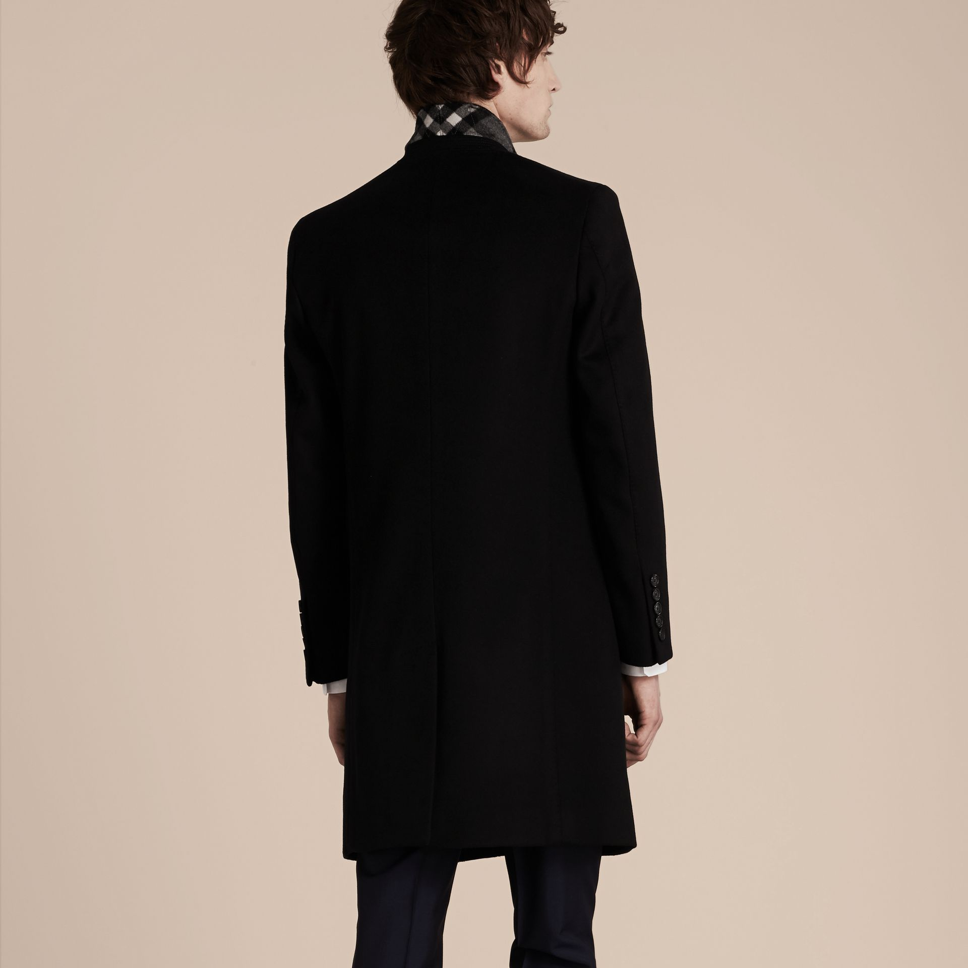 Black Wool Cashmere Tailored Coat Black - gallery image 3