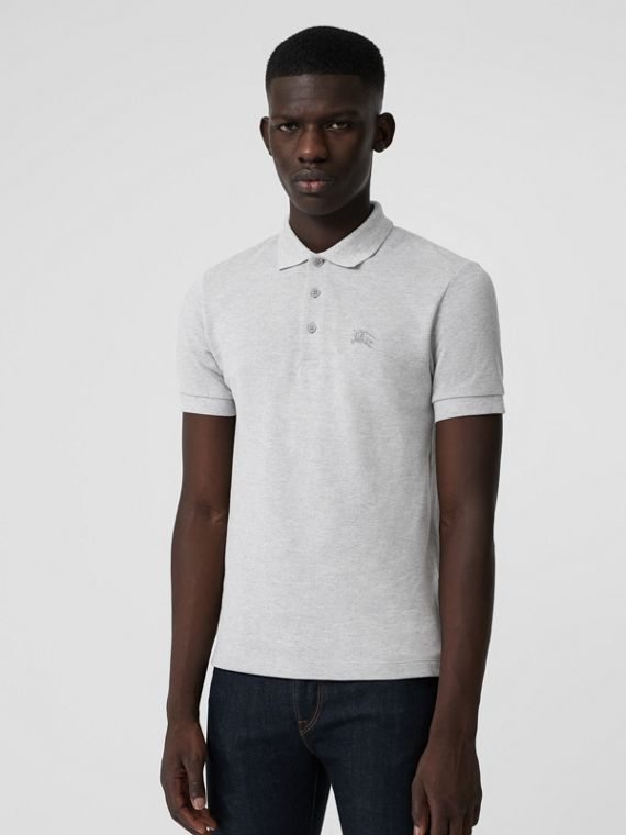 Check Placket Cotton Polo Shirt in Pale Grey Melange