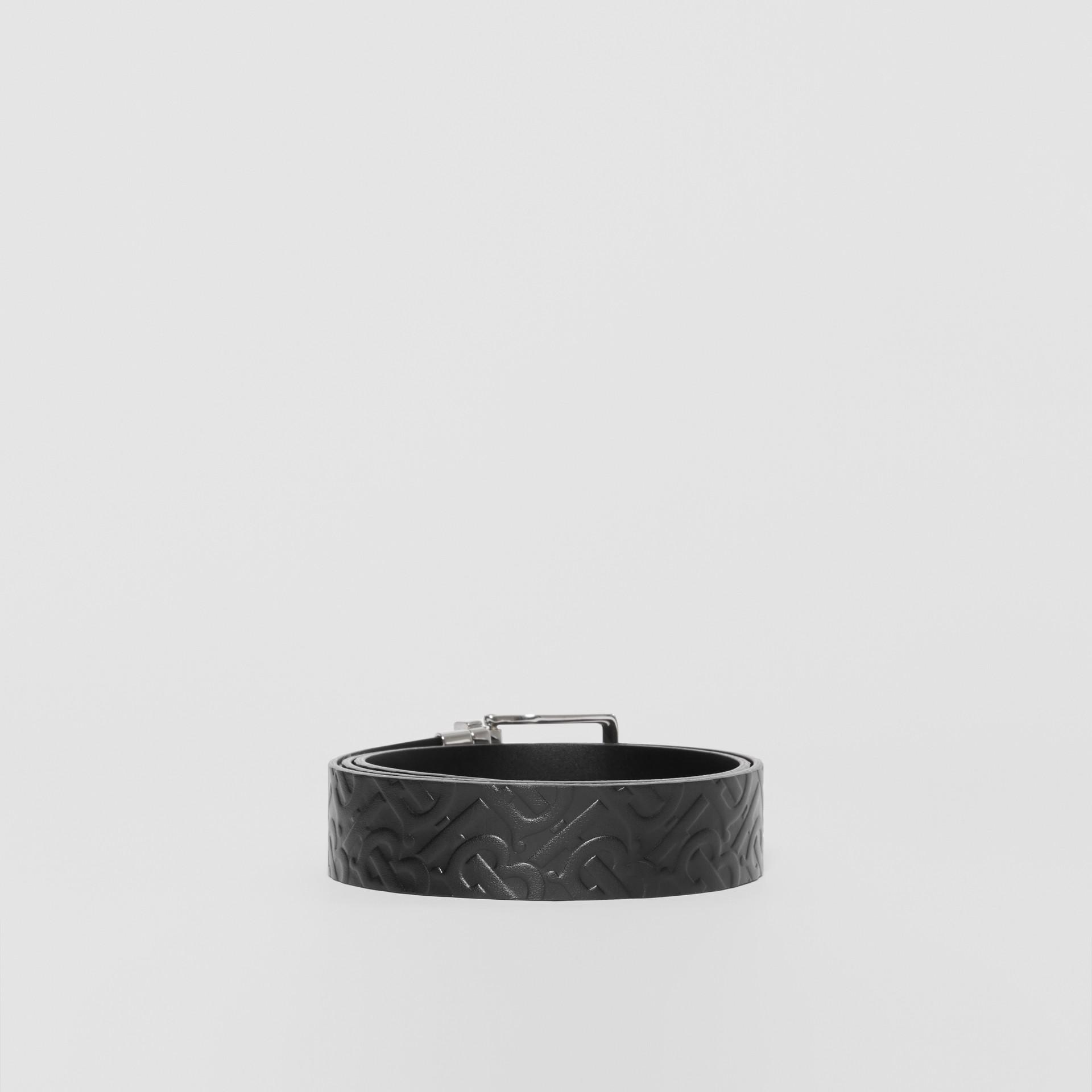 Reversible Monogram Leather Belt in Black - Men | Burberry - gallery image 4
