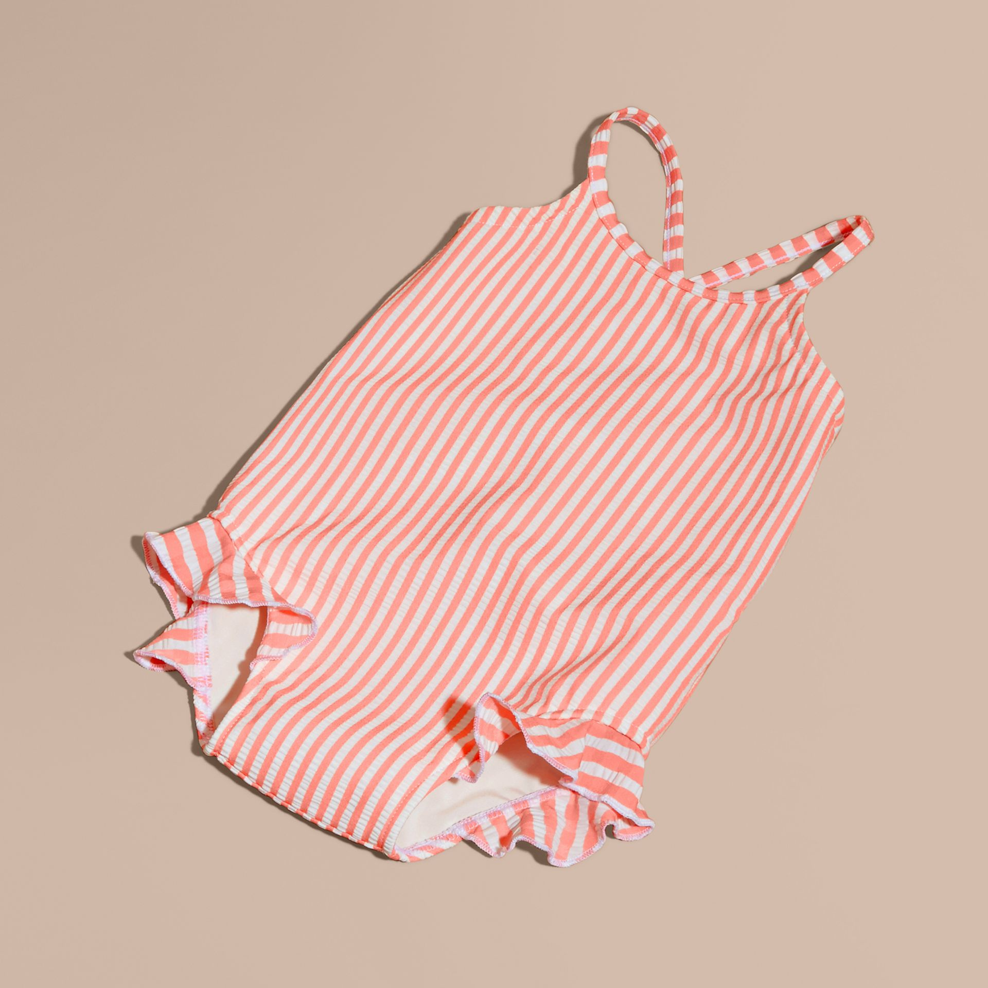 One-piece Striped Swimsuit with Check Ruffles in Apricot/white | Burberry - gallery image 1