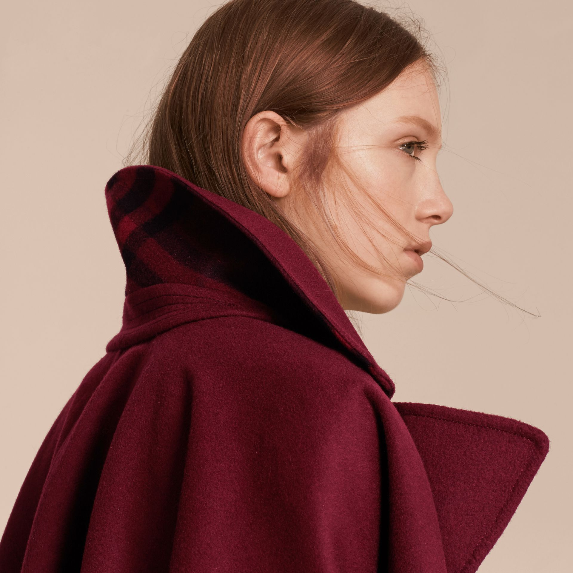 Burgundy Military Button Wool Cashmere Blend Cape Burgundy - gallery image 5