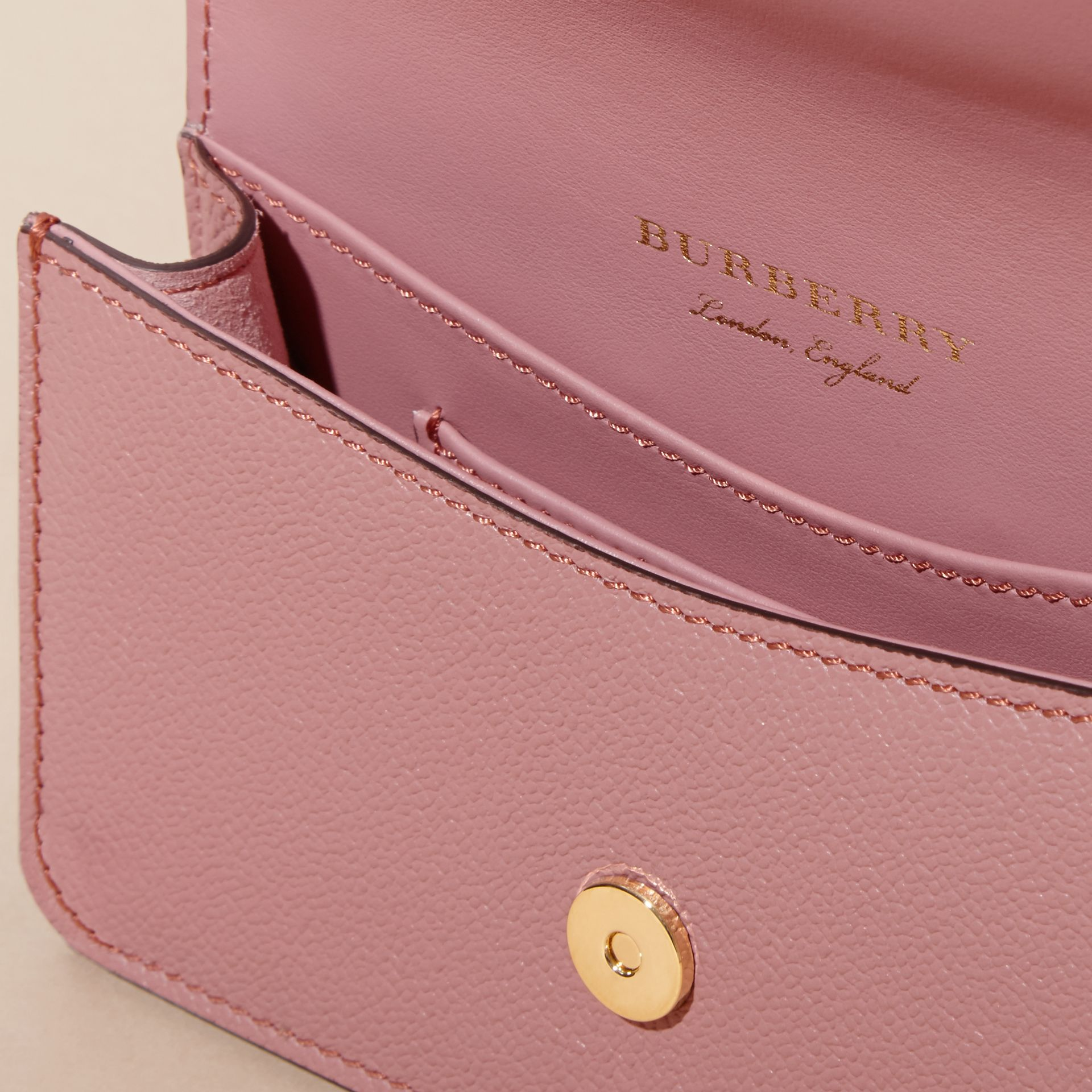 The Mini Buckle Bag in Grainy Leather Dusty Pink - gallery image 6