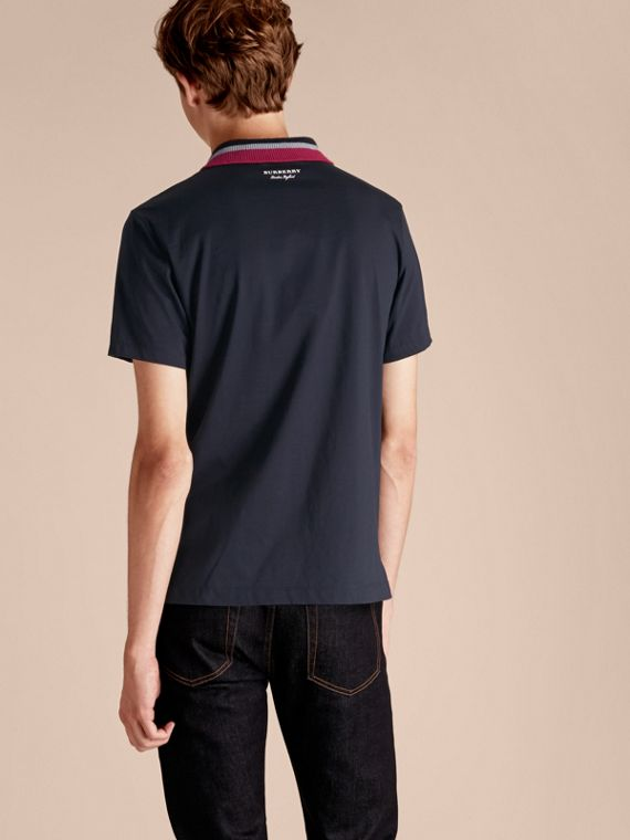 Cotton Polo Shirt with Knitted Collar Navy - cell image 2