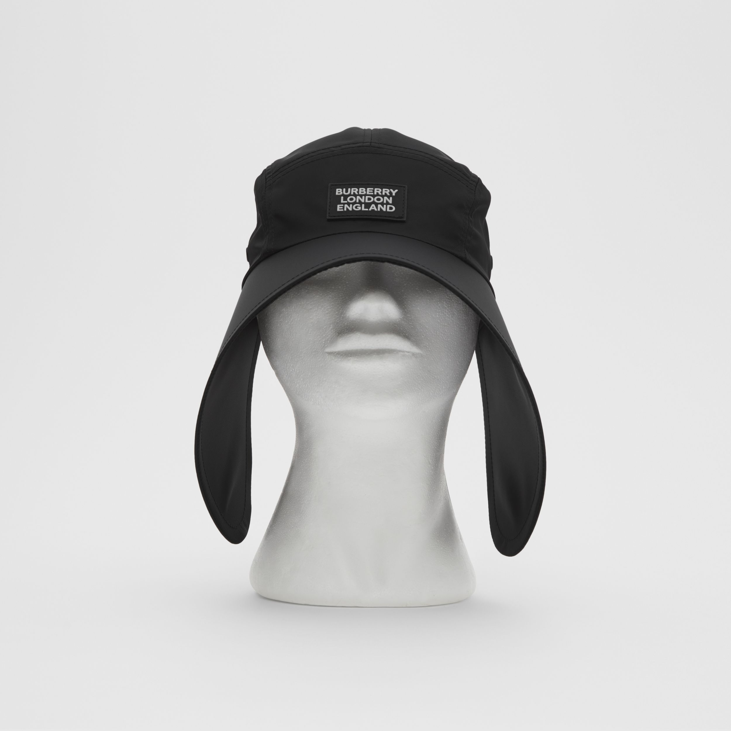 Logo Appliqué Cotton Twill Bonnet Cap in Black | Burberry - 1