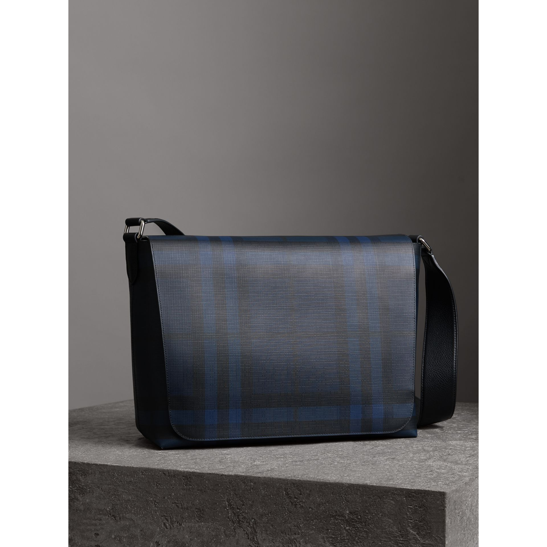 Large London Check Messenger Bag in Navy/black - Men | Burberry - gallery image 6