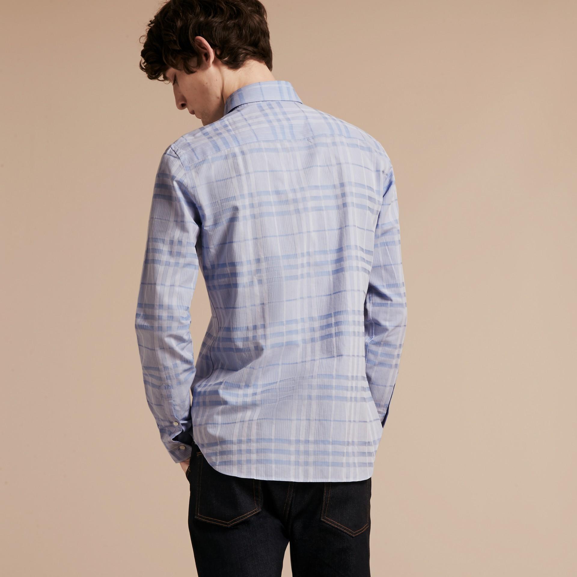 Bleu dragée Chemise en coton tissé en jacquard à motif check Bleu Dragée - photo de la galerie 3